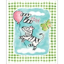 Gingham Zebra Framed Art