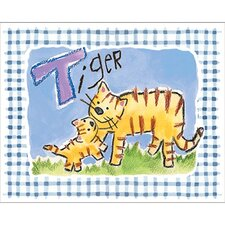Gingham Tiger Framed Art