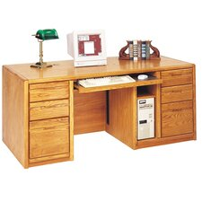 Contemporary Medium Oak Double Pedestal Computer Desk