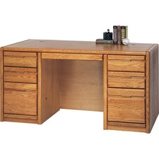 Contemporary Medium Oak 60'' Double Pedestal Executive Desk