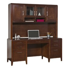 Concord Double Pedestal Credenza Desk with Hutch