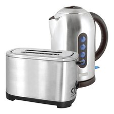 Kettle and Toaster Set in Brushed Steel