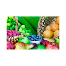 Fruits Kitchen Tile Mural in Multi-Colored