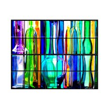 Glass Bottles Kitchen Tile Mural in Multi-Colored