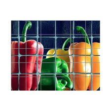 Peppers Kitchen Tile Mural in Multi-Colored