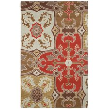 Country Red/Beige Bubblerary Rug