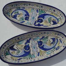 "<strong>Le Souk Ceramique</strong> Aqua Fish Design 16"" Oval Platter (Set of 2)"
