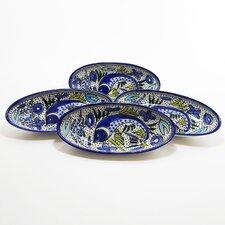 """Aqua Fish Design 4.5"""" Oval Platter (Set of 4)"""