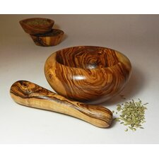 Olive Wood Large Mortar and Pestle