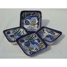 <strong>Le Souk Ceramique</strong> Aqua Fish Design Serving Dish (Set of 4)