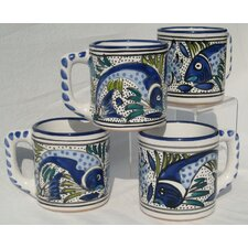 Aqua Fish Design 12 oz. Coffee Mug (Set of 4)