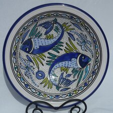 "Aqua Fish Design 12"" Small Serving Bowl"