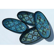 "<strong>Le Souk Ceramique</strong> Sabrine Design 4.5"" Oval Platter (Set of 4)"