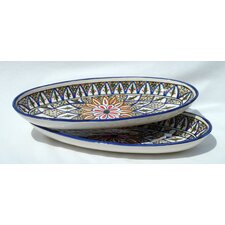 "<strong>Le Souk Ceramique</strong> Tabarka Design 16"" Oval Platter (Set of 2)"