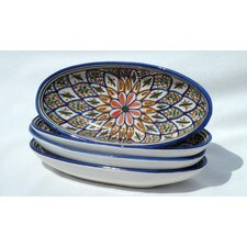 "<strong>Le Souk Ceramique</strong> Tabarka Design 4.5"" Oval Platter (Set of 4)"
