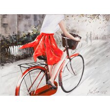 Lady In Red Painting Print on Canvas