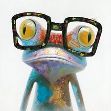 Smart Frog Painting Print on Canvas