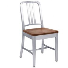 Natural Wood Seat Navy Dining Chair