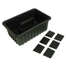 Plastic Tote Tray with 6 Dividers