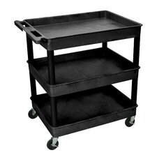 "Cart Serv Plas 3Tub Black 24""D X 32""W"