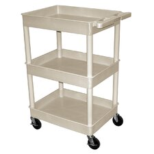 "41"" 3 Tub Shelf Utility Cart with 12"" Shelf Clearance"