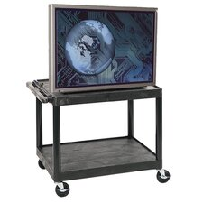 "<strong>Luxor</strong> 27"" High Open Shelf AV Cart in Black"