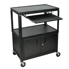 Extra Wide AV Cart with Cabinet and Keyboard Tray