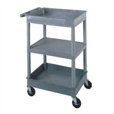 "<strong>Luxor</strong> 38"" 2 Tub and 1 Flat Shelf Utility Cart"