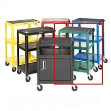 Adjustable Height Open Shelf AV Cart