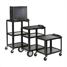 Open Shelf Fixed Height Table with Big Wheels, Casters and Electric Assembly