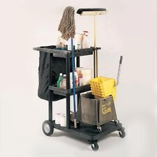 <strong>Luxor</strong> Three Shelf Janitor Cart