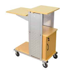 Mobile Presentation Station with Casters and Cabinet