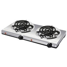 Portable Double Coil Cooking Range with Stainless Steel Base