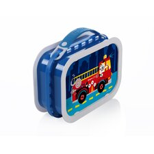 Deluxe Lunchbox with Fire Truck Dog Design in Blue