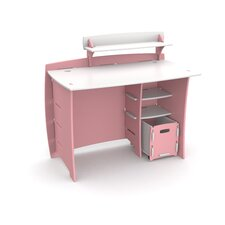 Princess Computer Desk with Accessory Shelves and File Cart