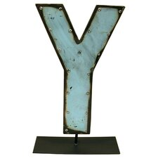 Moonshine Metal Letters Y on a Stand Letter Block