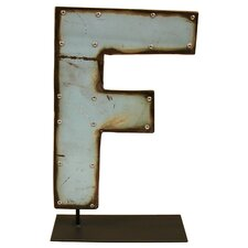 Moonshine Metal Letters F on a Stand Letter Block