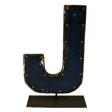 Moonshine Metal Letters J on a Stand Letter Block