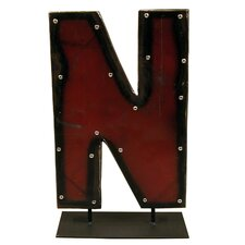 Moonshine Metal Letters N on a Stand Letter Block
