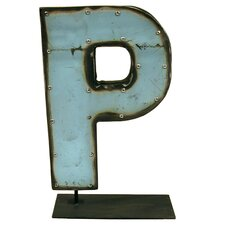 Moonshine Metal Letters P on a Stand Letter Block