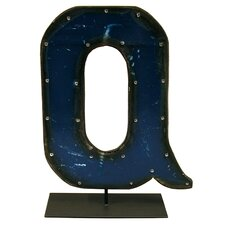Moonshine Metal Letters Q on a Stand Letter Block