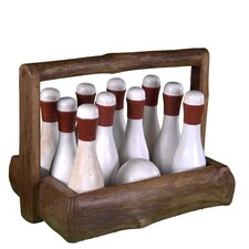 Gatsby Bowling Figurine Set with Basket