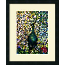 'Fine Peacock' by Tiffany Studios Framed Painting Print