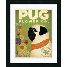 'Pug Flower Co.' by Stephen Fowler Framed Graphic Art