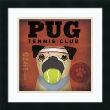 Pug Tennis Club Framed Print By Stephen Fowler