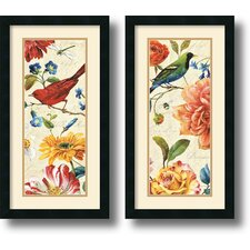 'Rainbow Garden Cream Panel' by Lisa Audit 2 Piece Framed Painting Print Set