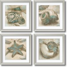 'Coastal Gems' by John Seba 4 Piece Framed Art Print Set