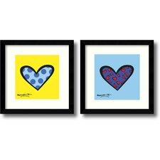 'Blue About You/Bee Bop Love' by Romero Britto 2 Piece Framed Graphic Art Set