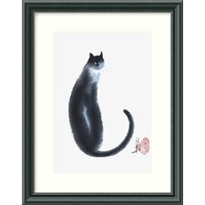 'Chinese Cat II' by Cheng Yan Framed Painting Print
