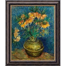 "<strong>Amanti Art</strong> Crown Imperial Fritillaries in a Copper Vase by Vincent Van Gogh, Framed Canvas Art- 23.97"" x 19.97"""